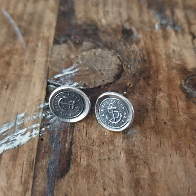 Hope Sustains Me - Victorian Whimsy Anchor Wax Seal Earrings
