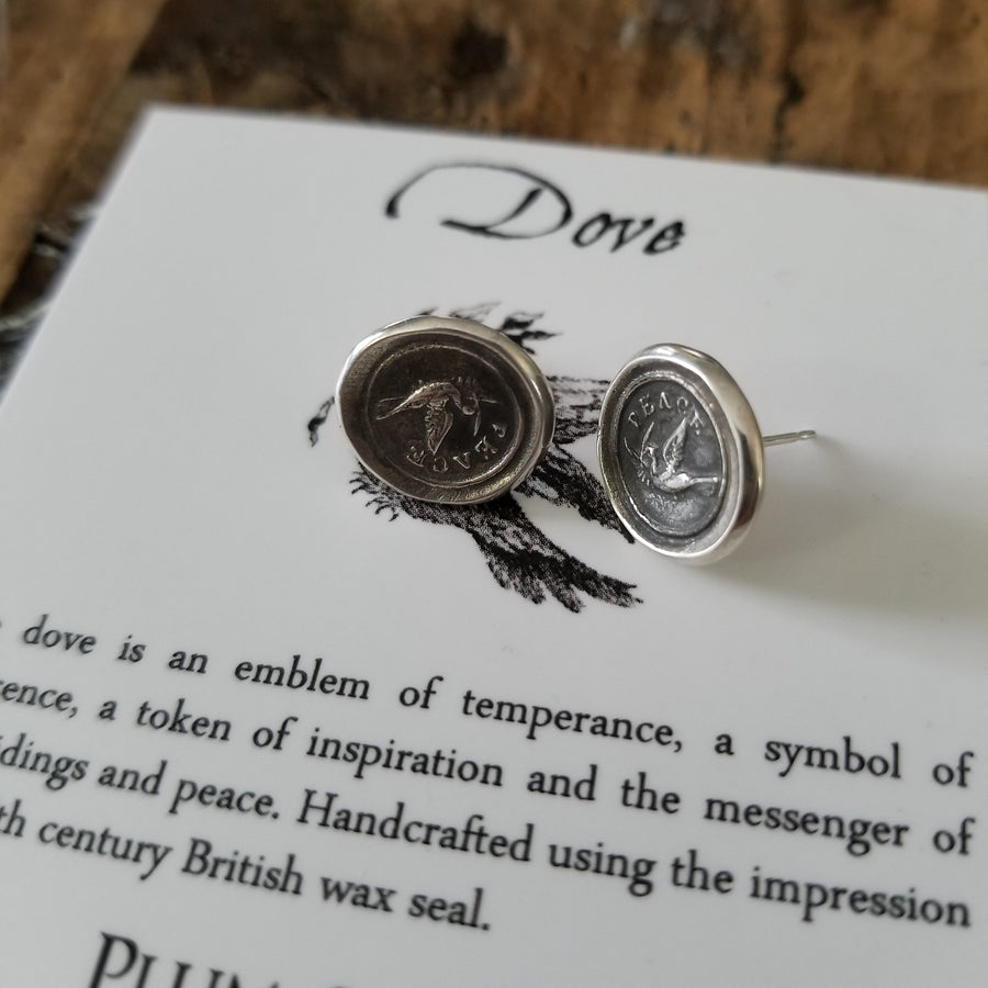 Peace Stud earrings - Dove Wax seal earrings