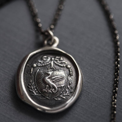 Guardianship and Protection - Dragons Crest Wax Seal Necklace - Wax seal Jewelry
