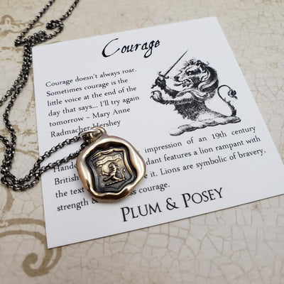 Courage - Lion Rampant Pendant in Bronze