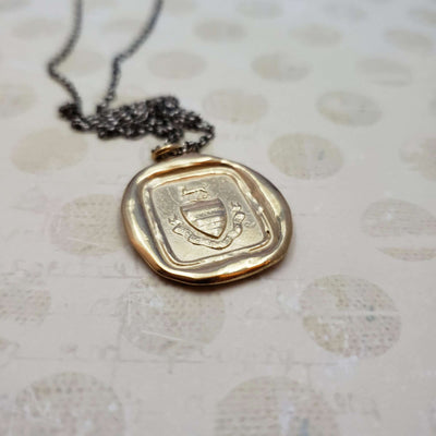 Heraldic Dog - Prosper Despite Adversity Pendant in Gold Vermeil