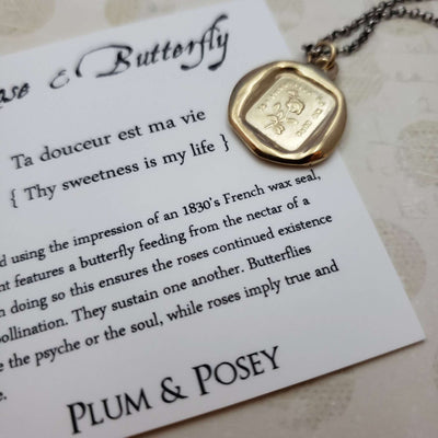 Rose and Butterfly - Thy sweetness is my life Pendant in Gold Vermeil