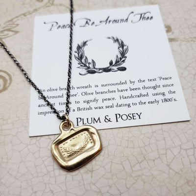 Peace Be Around Thee Wax Seal Pendant in Gold Vermeil
