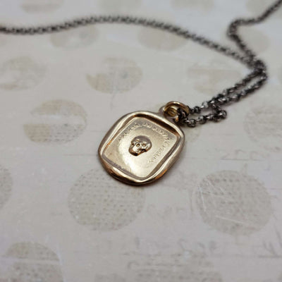 Skull Memento Mori Necklace in Gold Vermeil