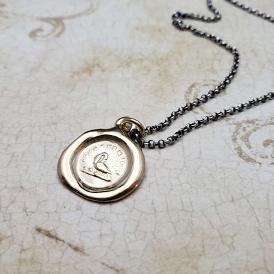 Motherhood Wax Seal pendant in Gold Vermeil