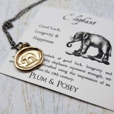Elephant Wax Seal Pendant in Gold Vermeil