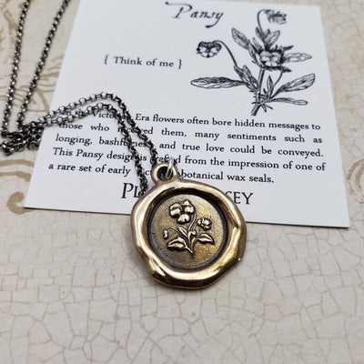 Pansy Necklace - Forget me not in bronze