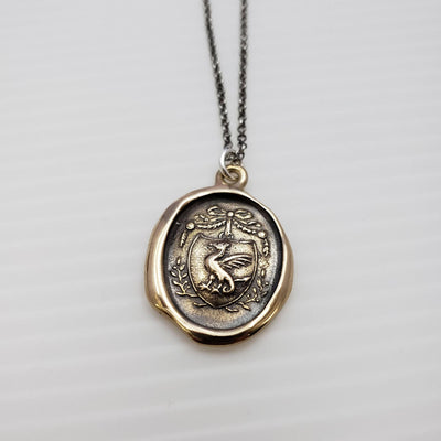 Dragons Crest Protection Necklace in Bronze