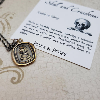 Skull and Crossbones 'Death or Glory'  Necklace in Bronze