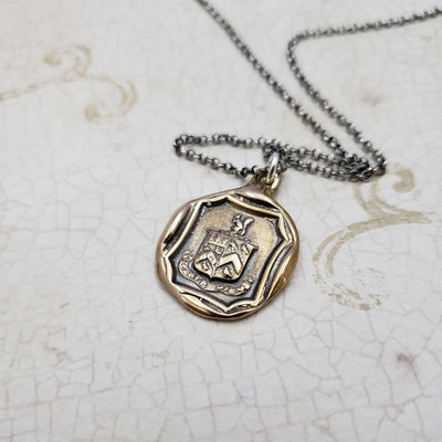 Squirrel and Owl Carpe Diem Crest Necklace in bronze