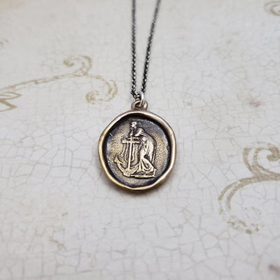 Hope and Faith - Lady of the Sea and anchor necklace in Bronze