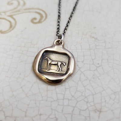 Horse Necklace in Bronze