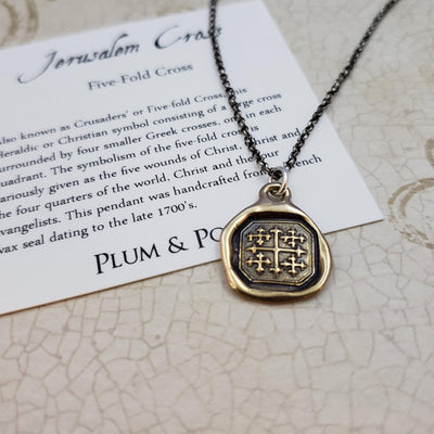 Wheat and Crown - Truth Prevails Wax Seal Pendant in Bronze