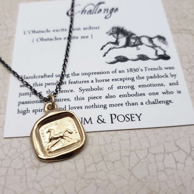 Horse wax seal necklace in Gold Vermeil