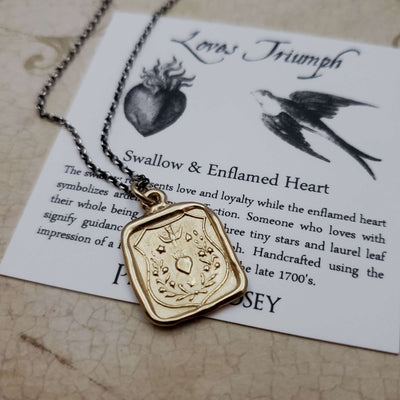 Swallow and Enflamed Heart Wax Seal Pendant in Gold Vermeil