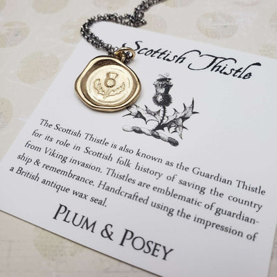 Scottish Thistle Wax Seal Pendant in Gold Vermeil
