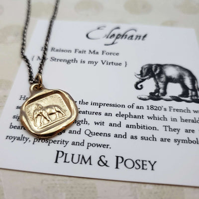 Elephant Necklace - My Strength is my Virtue in Gold Vermeil