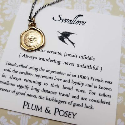 Swallow - Loyalty and Love Pendant in Gold Vermeil