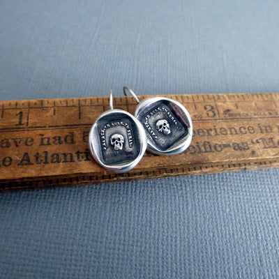Skull Earrings Memento Mori - From an Antique wax seal of a skull inscribed 'So as you are so once was I'