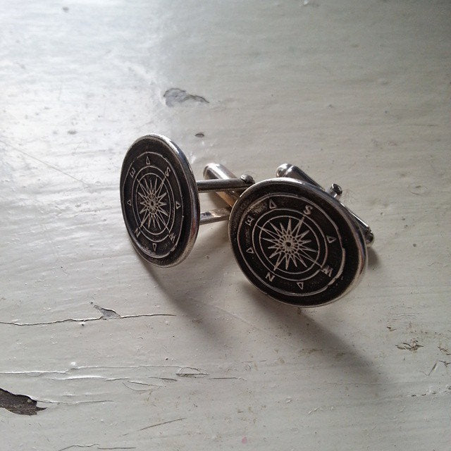 Compass Silver Mens Cufflinks