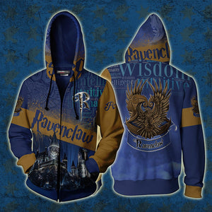 Hogwarts Castle Ravenclaw House Harry Potter Zip Up Hoodie