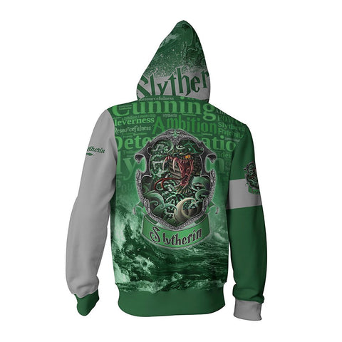 Image of Hogwarts Castle Slytherin House Harry Potter Zip Up Hoodie