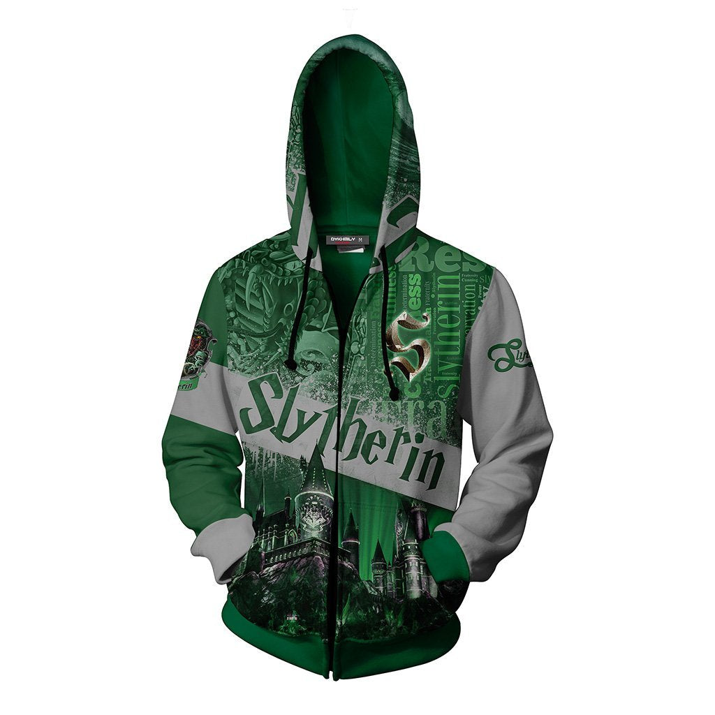 Hogwarts Castle Slytherin House Harry Potter Zip Up Hoodie