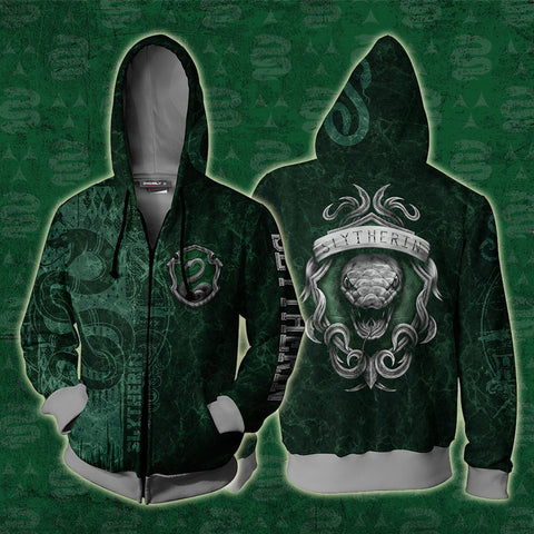 Image of The Cunning Slytherin Harry Potter New Zip Up Hoodie