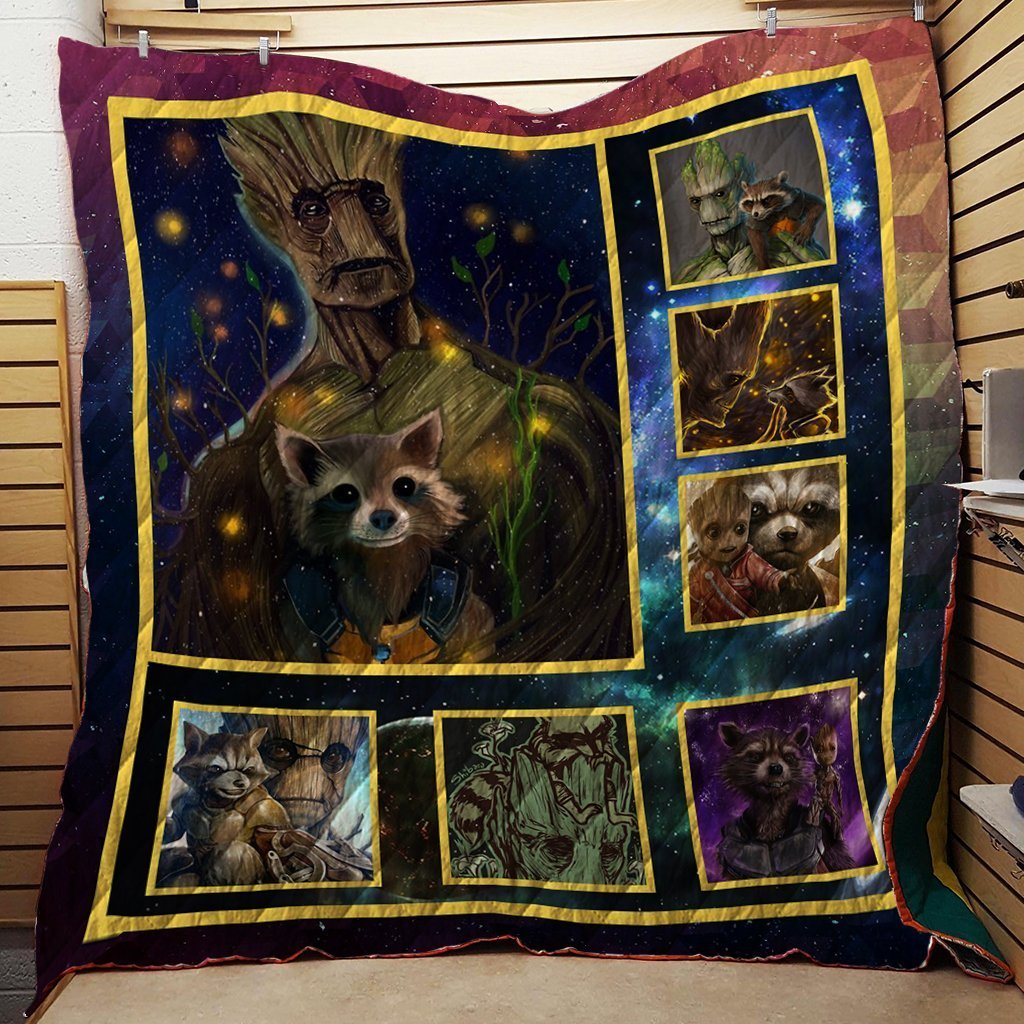 The Groot And The Rocket 3D Quilt Blanket