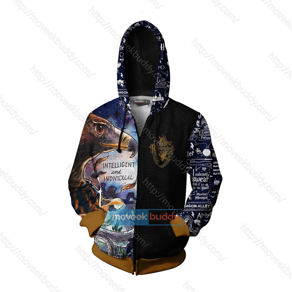 Ravenclaw House Intelligent And Individual Harry Potter Zip Up Hoodie