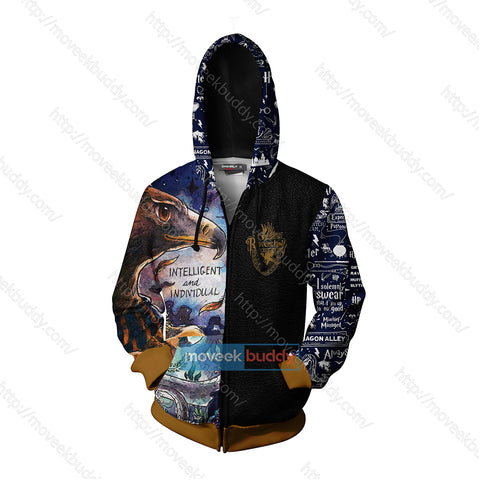 Image of Ravenclaw House Intelligent And Individual Harry Potter Zip Up Hoodie