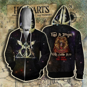Gryffindor Harry Potter - Find A Dragon Kick Some A** You Know The Usual Zip Up Hoodie