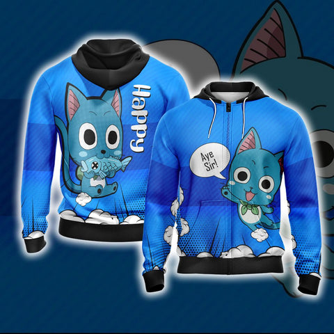 Image of Fairy Tail Happy Unisex Zip Up Hoodie