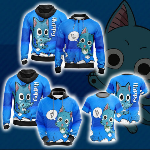 Image of Fairy Tail Happy Unisex 3D Hoodie