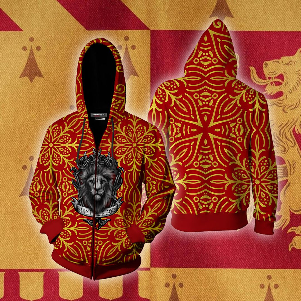 House Gryffindor Brave At Heart Harry Potter Zip Up Hoodie