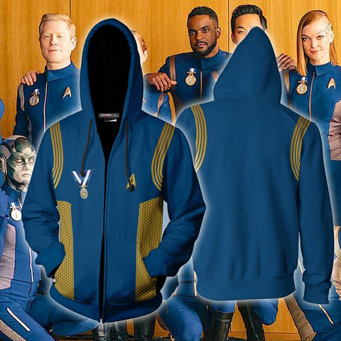 Image of Star Trek: Discovery Uniforms Cosplay Zip Up Hoodie Jacket