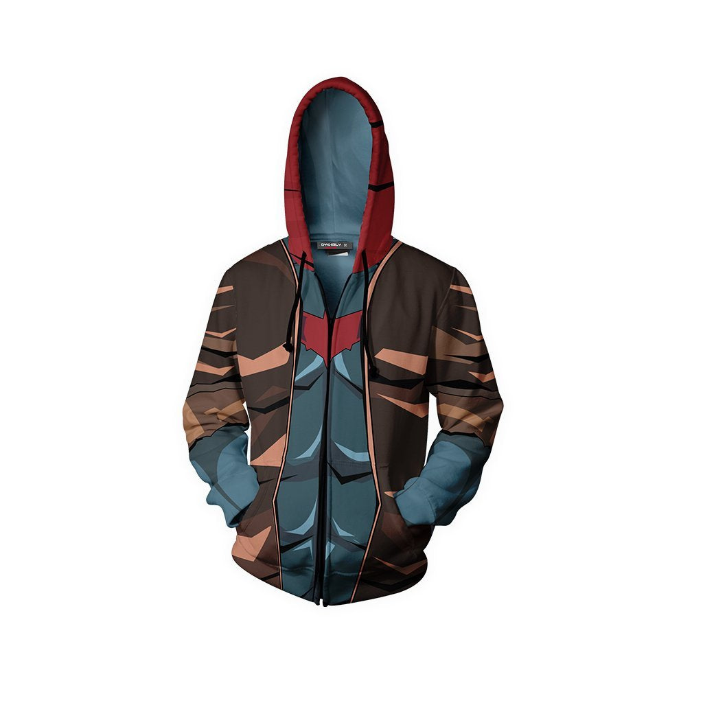 Red Hood Suit Batman Fan Zip Up Hoodie