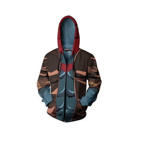 Image of Red Hood Suit Batman Fan Zip Up Hoodie