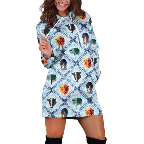 Four House Hogwarts Symbol Seamless Harry Potter 3D Hoodie Dress