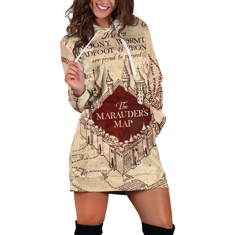 The Marauder's Map Harry Potter 3D Hoodie Dress