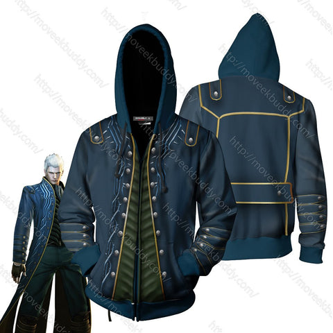 Devil May Cry Vergil Cosplay Zip Up Hoodie Jacket