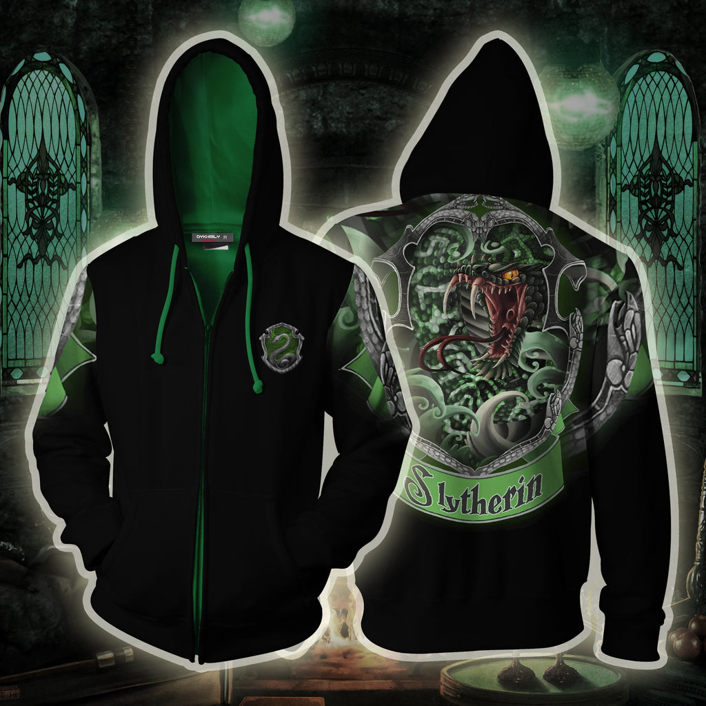 Slytherin Hogwarts Harry Potter Zip Up Hoodie