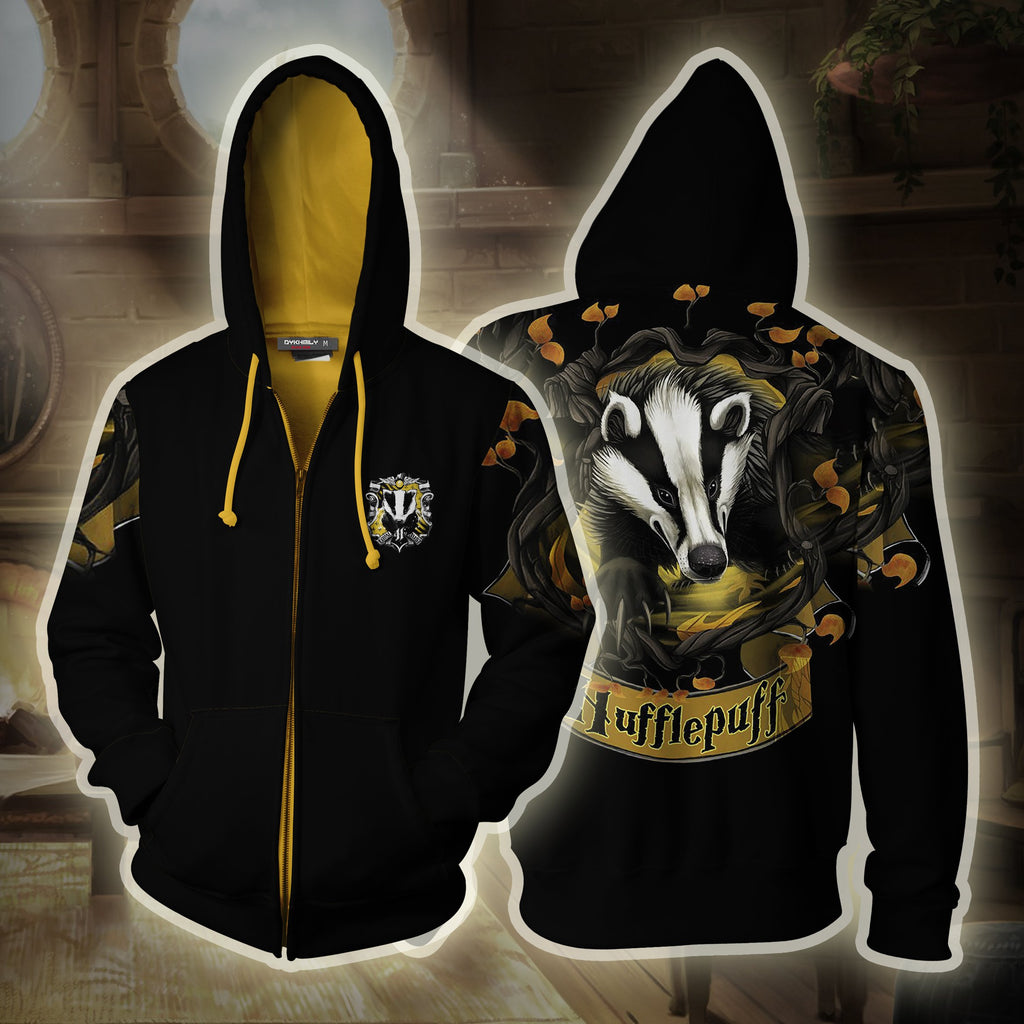 Hufflepuff Hogwarts Harry Potter 3D Zip Up Hoodie