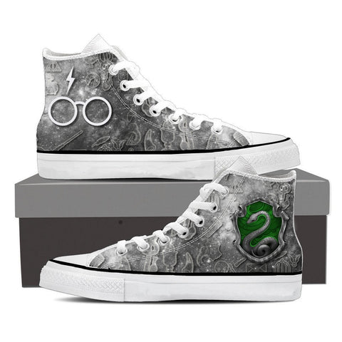 Image of The Slytherin Snake Harry Potter High Top Shoes