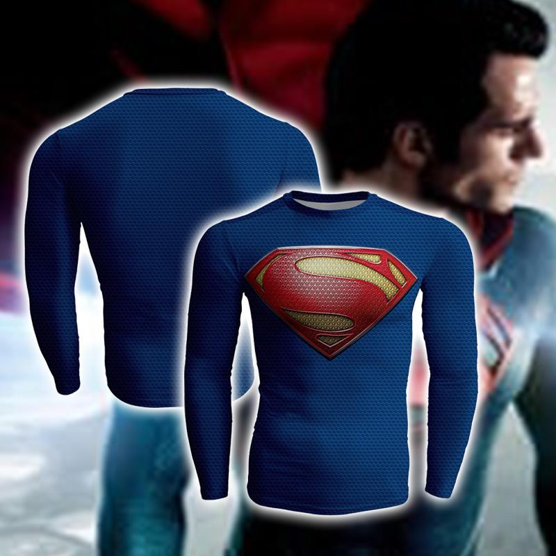 Superman Christopher Reeve Cosplay Long Sleeve Compression T-shirt