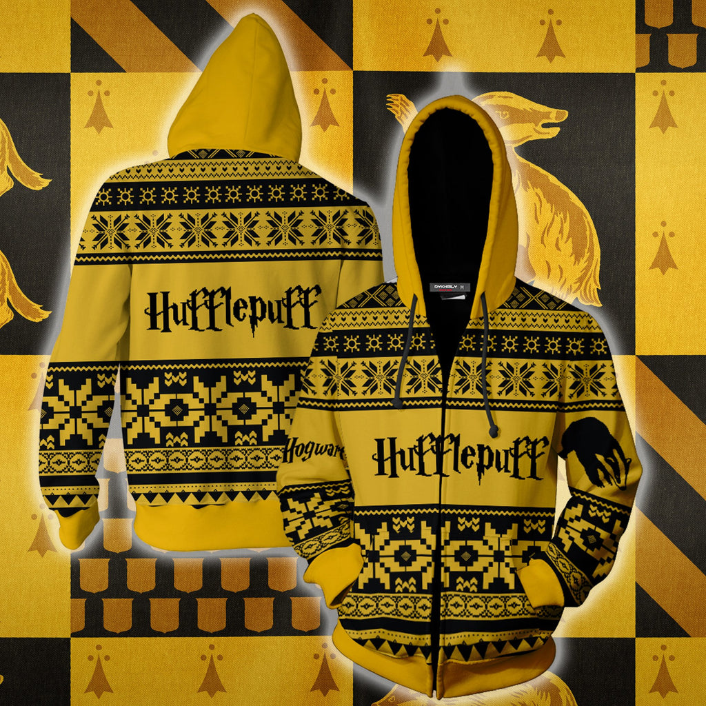The Hufflepuff Badger Harry Potter Ugly Christmas Zip Up Hoodie
