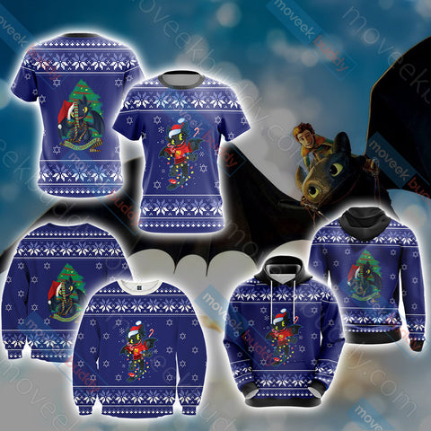 Image of How To Train Your Dragon Christmas Style Unisex 3D Hoodie