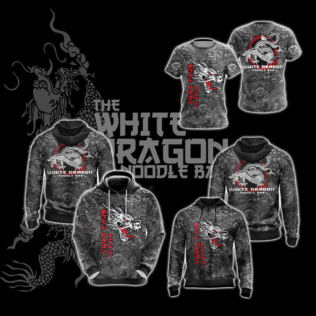 Blade Runner White Dragon Noodle Bar Unisex Zip Up Hoodie