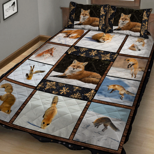 Fox In The Snow Quilt Bed Set