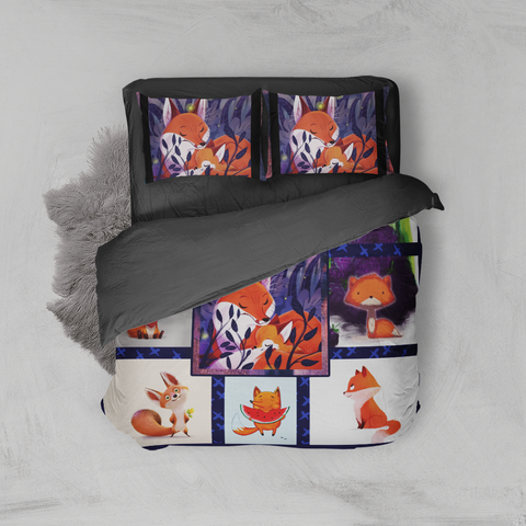 Image of Cute Fox Complication 3D Bed Set